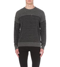 Allsaints Coast Striped Knitted Jumper Charcl Mrl Ink