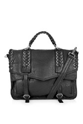 Topshop Leather Eyelet Weave Satchel Black