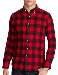 Polo Ralph Lauren Double Faced Plaid Sport Shirt Black Red