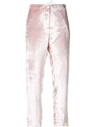 Rosie Assoulin Velvet Trousers Pink And Purple