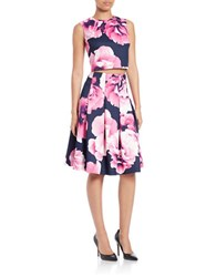 Eliza J Petite Two Piece Floral Crop Top And Skirt Set Navy Pink