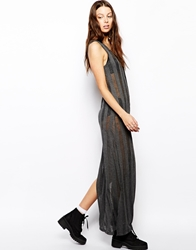 The Ragged Priest Sheer Button Up Maxi Dress With Ladder Detail Charcoalgrey