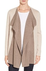 Nordstrom Women's Collection Double Knit Contrast Cashmere Cardigan