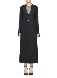 Nicholas Wool Blend Jersey Long Coat Black