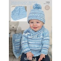 Sirdar Snuggly Baby Jumper And Hat Knitting Pattern 1926