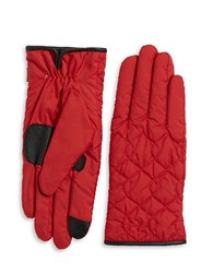 Echo Faux Fur Lined Quilted Gloves Red