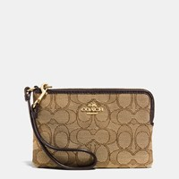 Coach Corner Zip Wristlet In Signature Fabric Light Gold Khaki Brown
