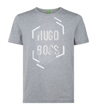 Hugo Boss Green Tee 1 Graphic Logo T Shirt Male Light Grey