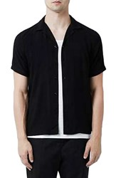 Topman Men's Revere Collar Short Sleeve Shirt