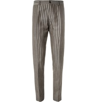 Dolce And Gabbana Tapered Woven Linen And Cotton Blend Trousers Gray