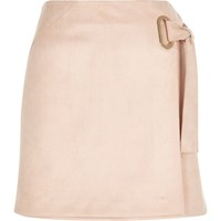 River Island Womens Light Pink Faux Suede Wrap Skirt