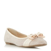 Head Over Heels Hadia Bow Trim Ballerina Shoes Gold