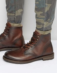Shoe The Bear Worker Leather Lace Up Boots Brown