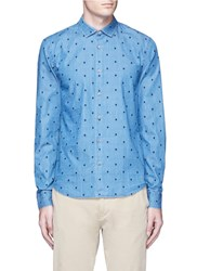 Scotch And Soda Dot Embroidered Cotton Denim Shirt Blue