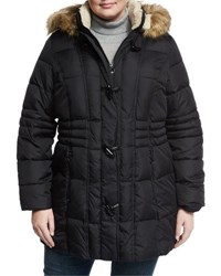 Laundry By Shelli Segal Quilted Coat W Detachable Hood Black