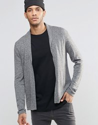 Asos Open Shawl Cardi In Merino Wool Mix Charc And Silver Grey