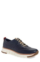 Cole Haan Men's 'Zer Grand' Perforated Wingtip Sneaker Marine Blue Perforated Leather