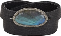 Feathered Soul Women's Diamond Labradorite And Leather Wrap Bracelet Co Colorless