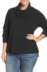 Caslonr Plus Size Women's Caslon Rib Detail Relaxed Turtleneck Sweater