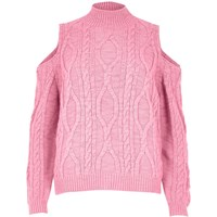 River Island Womens Pink Cable Knit Cold Shoulder Jumper