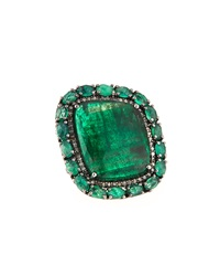 Bavna Emerald And Diamond Ring Size 7