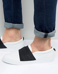 Asos Slip On Trainers In White Pyramid With Elastic Strap White