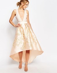 Chi Chi London Premium Full Midi Skirt With Gold Embroidery Nude Gold Pink