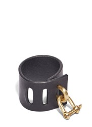 Parts Of Four Restraint Leather Charm Bracelet Black