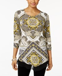 Jm Collection Petite Printed Chiffon Hem Top Only At Macy's Yellow Splendor