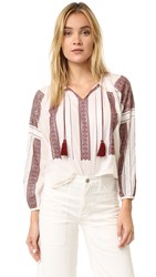 Loveshackfancy Lou Peasant Blouse Antique White