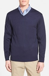 Men's Cutter And Buck 'Douglas' Merino Wool Blend V Neck Sweater Liberty Navy