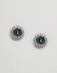 Ted Baker Crystal Daisy Stud Earrings Silver Blue
