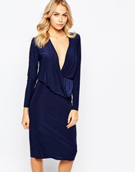 Love Slinky Drape Front Midi Dress With Long Sleeves Navy