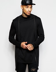 Asos Super Longline Long Sleeve T Shirt With Turtle Neck And Double Layer Zip Cardigan Black