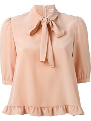 Red Valentino Ruffled Hem Pussybow Blouse Yellow And Orange