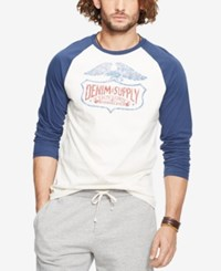 Denim And Supply Ralph Lauren Men's Graphic Baseball Shirt White