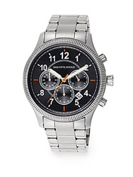 Saks Fifth Avenue Coin Edge Stainless Steel Watch Silver