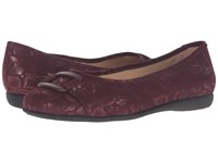 Trotters Sizzle Bordeaux Washed Metallic Microfiber Suede Women's Dress Flat Shoes Mahogany