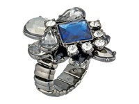 Guess Stone Cluster Stretch Ring Hematite Crystal Blue Ring Gray