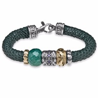 Platadepalo Silver Jade Zircon And Green Leather Bracelet