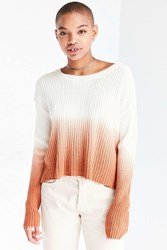 Silence And Noise Dip Dye Rib Pullover Sweater Peach