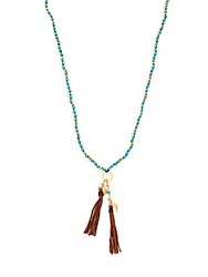 Chan Luu Turquoise And Leather Fringe Necklace
