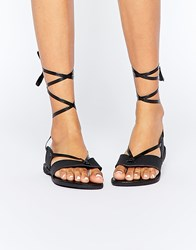 Truffle Collection Beryl Ankle Tie Toepost Flat Sandals Black Pu