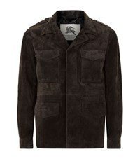 Burberry London Corsby Suede Field Jacket Male Green