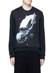 Christopher Kane 'Car Crash' Print Cotton Sweatshirt Black Multi Colour
