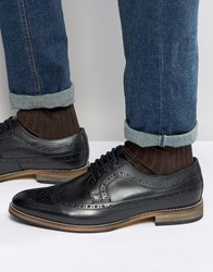 Asos Brogue Shoes In Black Leather Black