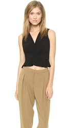 Robert Rodriguez Flounced Crop Top Black