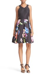 Ted Baker Women's London 'Illusia' Colorblock Fit And Flare Dress Black