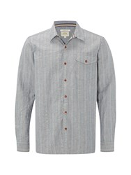 White Stuff Men's Redstart Dobby Stripe Long Sleeve Shirt Chambray