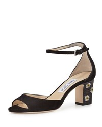 Jimmy Choo Blossom Embroidered D'orsay Sandal Black